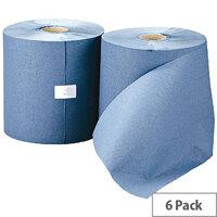 Leonardo 1 Ply Blue Paper Hand Towel Rolls 200m (6 Rolls) RTB200