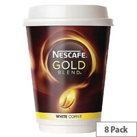 Nescafe & Go Gold Blend White Coffee Foil Sealed Cups for Drinks Machine A02781 Pack 8