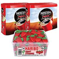 Nescafe Original Instant Coffee 750g (Pack of 2) Plus FOC Haribo Giant Strawbs NL819852