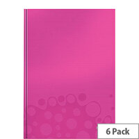 Leitz WOW Hardcover Notebook A4 Pink Pack of 6