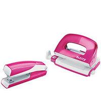 Leitz WOW Mini Stapler and Hole Punch Set Metallic Pink