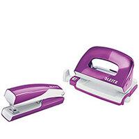 Leitz WOW Mini Stapler and Hole Punch Set Purple