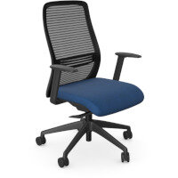 NV Posture Office Chair with Contoured Mesh Back and Adjustable Lumbar Support Black Frame Navy Blue Seat