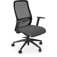 NV Posture Office Chair with Contoured Mesh Back and Adjustable Lumbar Support Black Frame Grey Seat
