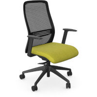 NV Posture Office Chair with Contoured Mesh Back and Adjustable Lumbar Support Black Frame Mustard Seat
