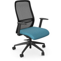 NV Posture Office Chair with Contoured Mesh Back and Adjustable Lumbar Support Black Frame Light Blue Seat