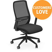 NV Posture Office Chair with Contoured Mesh Back and Adjustable Lumbar Support Black