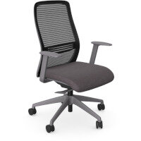 NV Posture Office Chair with Contoured Mesh Back and Adjustable Lumbar Support Grey Frame Grey Seat