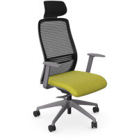 NV Posture Office Chair with Contoured Mesh Back and Adjustable Lumbar Support & Headrest Grey Frame Mustard Seat