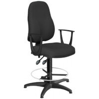 OA Series High Back Draughtsman Chair Black Fabric with Fixed Arms Arms 550-810mm High Base with Chrome Footring & Glides