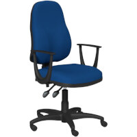 OA Series High Back High Back Operator Office Chair Blue Fabric with Fixed Arms