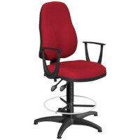 OA Series High Back Draughtsman Chair Bespoke Evert Fabric with Fixed Arms Arms 550-810mm High Base with Chrome Footring & Glides