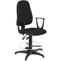 OA Series High Back Draughtsman Chair Black Vinyl with Fixed Arms Arms 550-810mm High Base with Chrome Footring & Glides