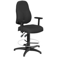 OA Series High Back Draughtsman Chair Black Fabric with Height Adjustable Arms 550-810mm High Base with Chrome Footring & Glides