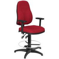 OA Series High Back Draughtsman Chair Bespoke Evert Fabric with Height Adjustable Arms 550-810mm High Base with Chrome Footring & Glides