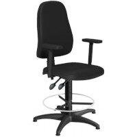 OA Series High Back Draughtsman Chair Black Vinyl with Height Adjustable Arms 550-810mm High Base with Chrome Footring & Glides