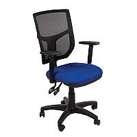 Mesh Back Office Chair With Adjustable Back & Arms Blue Profiled Seat OA Series