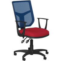 OA Series Mesh Back Office Chair with Adjustable Blue Mesh Back Fixed Arms & Bespoke Evert Fabric Seat