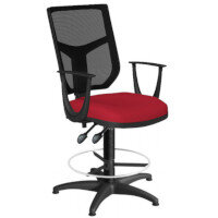 OA Series Draughtsman Chair with Adjustable Black Mesh Back Fixed Arms & Bespoke Evert Fabric Seat 550-810mm High Base with Chrome Footring & Glides