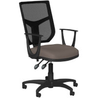 OA Series Mesh Back Office Chair with Adjustable Black Mesh Back Fixed Arms & Bespoke Lotus PU Seat