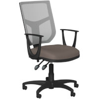 OA Series Mesh Back Office Chair with Adjustable Grey Mesh Back Fixed Arms & Bespoke Lotus PU Seat