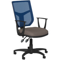 OA Series Mesh Back Office Chair with Adjustable Blue Mesh Back Fixed Arms & Bespoke Lotus PU Seat