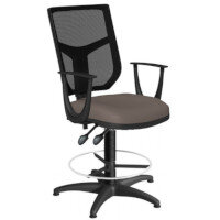 OA Series Draughtsman Chair with Adjustable Black Mesh Back Fixed Arms & Bespoke Lotus PU Seat 550-810mm High Base with Chrome Footring & Glides