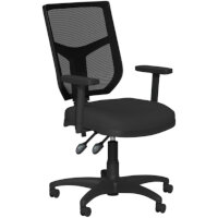 OA Series Mesh Back Office Chair with Adjustable Black Mesh Back Adjustable Arms & Black Evert Fabric Seat