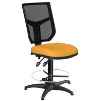 OA Series Draughtsman Chair with Adjustable Black Mesh Back Bespoke Camira Xtreme Fabric Seat 550-810mm High Base with Chrome Footring & Glides