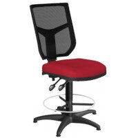 OA Series Draughtsman Chair with Adjustable Black Mesh Back & Bespoke Evert Fabric Seat 550-810mm High Base with Chrome Footring & Glides