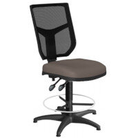 OA Series Draughtsman Chair with Adjustable Black Mesh Back & Bespoke Lotus PU Seat 550-810mm High Base with Chrome Footring & Glides