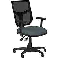 OA Series Mesh Back Office Chair with Adjustable Black Mesh Back Adjustable Arms & Graphite Evert Fabric Seat