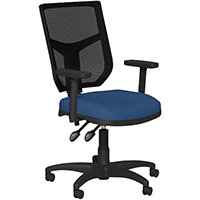 OA Series Mesh Back Office Chair with Adjustable Black Mesh Back Adjustable Arms & Dark Blue Evert Fabric Seat