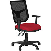 OA Series Mesh Back Office Chair with Adjustable Black Mesh Back Adjustable Arms & Red Evert Fabric Seat