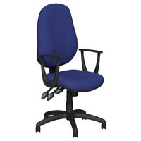 O.B Series Office Chair Fabric Seat Black Base & Fixed Arms Royal Blue