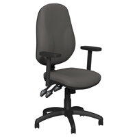 O.B Series Office Chair Leather Look Seat Black Base & Adjustable Arms Grey