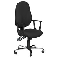 O.B Series Office Chair Fabric Seat Chrome Base & Fixed Arms Black
