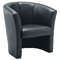 Leather Look Tub Armchair Black