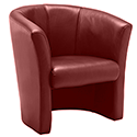 Leather Look Tub Armchair Brown