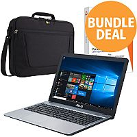 "Asus Bundle Silver Notebook 14"" Intel Dual-Core Celeron 1.60Ghz, RAM 4GB, 1TB HDD + Bag + MS Office 365 + Panda Antivirus"