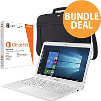"Asus Bundle White Notebook 14"" Intel Dual-Core Celeron 1.60Ghz, RAM 4GB, 1TB HDD + Bag + MS Office 365 + Panda Antivirus"