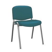 O.I Series Green Vinyl Chrome Legs Stacking Chair