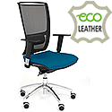 Ergonomic Mesh Task Chair With Lumbar Support & Adjustable Arms Blue Eco-Leather Seat OZ Series