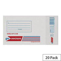 GoSecure Bubble Lined Envelope Size 1 100x165mm White Pack of 20 PB02127