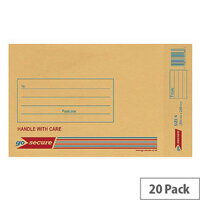 GoSecure Bubble Lined Envelope Size 4 180x265mm Gold Pack of 20 PB02152