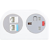 Phase Multi-surface Power Module 1 x UK Socket, 2 x RJ45 Sockets - White