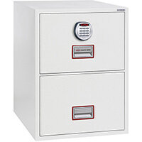 Phoenix World Class Vertical Fire File FS2272E 2 Drawer Filing Cabinet with Electronic Lock White