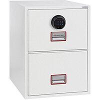 Phoenix World Class Vertical Fire File FS2272F 2 Drawer Filing Cabinet with Electronic Fingerprint Lock White