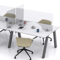 Screen Three - Self Supporting Rectangular Protective Desk Screen with Aperture & Radius Corners W575xH600xD150mm