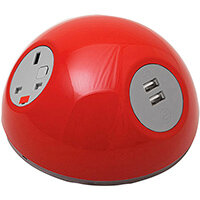 Pluto Domed On-surface Power Module with 1 x UK Socket, 1 x TUF (A&C connectors) USB Charger - Red